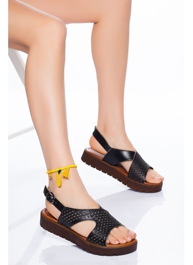 Derithy Derithy-Hakiki Deri Sandalet-Beyaz Siyah